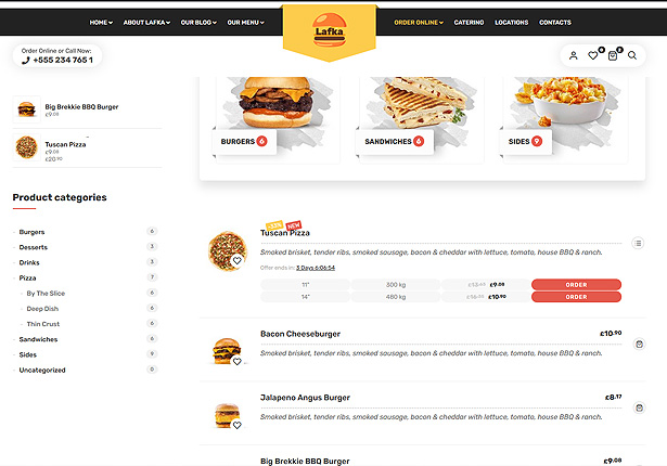 Lafka - WooCommerce Theme for Burger - Pizza & Food Delivery - 3